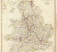 Vintage Map of England (1837)  by BravuraMedia