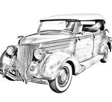 1936 Ford Phaeton Convertible Illustration  by KWJphotoart