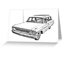 1964 Ford Galaxy Country Station Wagon Illustration Greeting Card