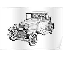 Model A Ford Roadster Antique Car Illustration Poster