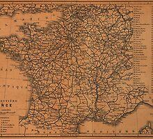 Vintage Map of Railroads in France (1914) by BravuraMedia