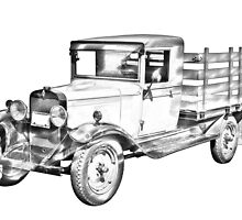 1929 chevy truck 1 ton stake Body Illustration by KWJphotoart