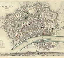 Vintage Map of Frankfurt Germany (1837)  by BravuraMedia