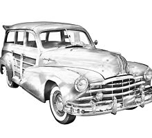 1948 Pontiac Silver Streak Woody Illustration by KWJphotoart