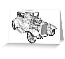 1930 Model A Custom Hot Rod Illustration Greeting Card