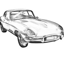 1964 Jaguar XKE Antique Sports Car Illustration by KWJphotoart