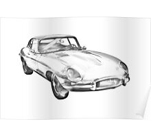 1964 Jaguar XKE Antique Sports Car Illustration Poster