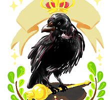 Crow with Crown by egg-ghost