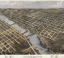 Vintage Pictorial Map of Grand Rapids (1868)  by BravuraMedia
