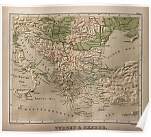 Vintage Physical Map of Greece (1880) Poster