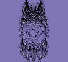 Dreamy Owl_Black by kellabell9