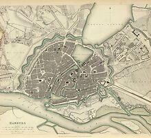 Vintage Map of Hamburg Germany (1841) by BravuraMedia