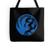 Traditional Blue Chinese Phoenix Circle Tote Bag