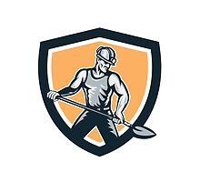 Coal Miner Hardhat Shovel Shield Retro by patrimonio