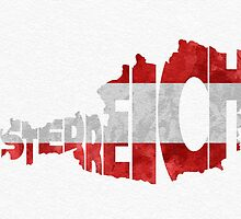 Austria Typographic Map Flag by A. TW