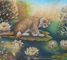 Whimsical Cat Art - Cat and the Prince Charming Frog by AlessandraArt