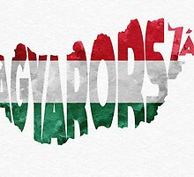 Hungary Typographic Map Flag by A. TW