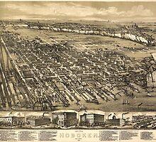 Vintage Pictorial Map of Hoboken NJ (1881) by BravuraMedia