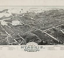 Vintage Pictorial Map of Hyannis MA (1884) by BravuraMedia