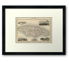 Vintage Map of Jamaica (1851) Framed Print