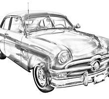 1950 Ford Custom Deluxe Classsic Car Illustration by KWJphotoart