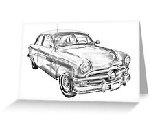 1950 Ford Custom Deluxe Classsic Car Illustration Greeting Card