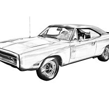1970 Dodge Charger R/t Muscle Car Illustration by KWJphotoart