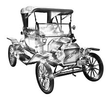 1914  Model T Ford Antique Car Illustration by KWJphotoart