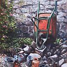 Still life wheelbarrow with collection of pots by stone wall by martyee