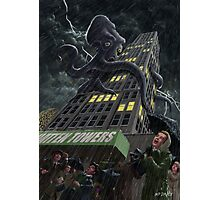 Monster Octopus attacking building in storm Photographic Print