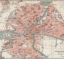 Vintage Map of Königsberg Germany (1905)  by BravuraMedia