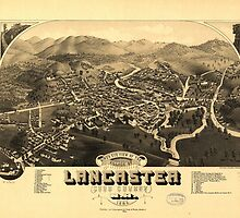 Vintage Pictorial Map of Lancaster NH (1883) by BravuraMedia