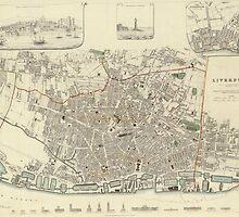 Vintage Map of Liverpool England (1836) by BravuraMedia