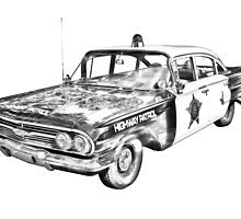 1960 Chevrolet Biscayne Police Car Illustration by KWJphotoart