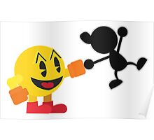 Pac-Man and Mr. Game and Watch Vector Poster