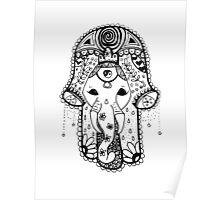 Hippie Elephant Hamsa Poster
