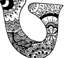 "Hipster Letter ""U"" Zentangle by alexavec"