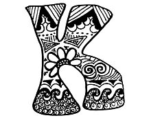 "Hipster Letter ""K"" Zentangle Photographic Print"