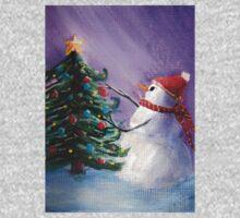 Cute Snowman Decorates Xmas Tree Folk Art Painting . Kids Clothes
