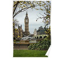 Water Fountain and Big Ben Poster