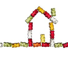 coloured jellybabies formed as a house by travel4pictures