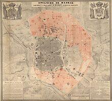 Vintage Map of Madrid Spain (1861) by BravuraMedia
