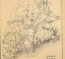 Vintage Map of Maine (1894) by BravuraMedia
