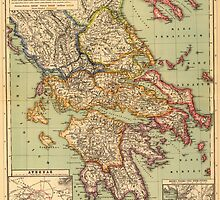 Vintage Map of Greece (1903)  by BravuraMedia