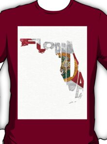 Florida Typographic Map Flag T-Shirt