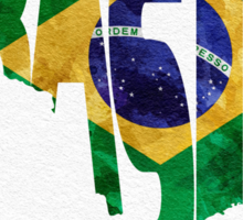 Brazil Typographic Map Flag Sticker