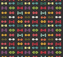 Bow tie pattern. Cartoon hipsters style by Tatiakost
