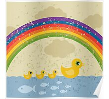 Ducks under a rainbow Poster