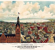 Vintage Pictorial Map of Milwaukee WI (1898) by BravuraMedia