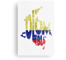 Colombia Typographic Map Flag Metal Print
